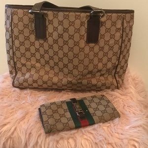Vintage Gucci tote and matching wallet